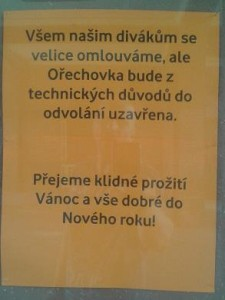 kino Ořechovka zavřeno