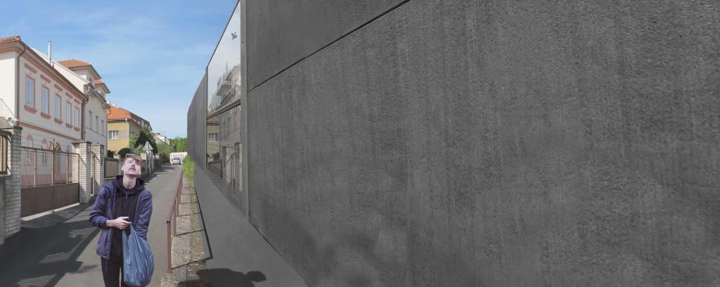 Betonová zeď uprostřed prahy 6?